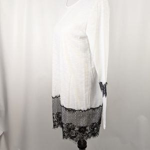 NWOT White with Black Lace T-shirt Dress
